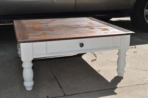 How To Stain A Coffee Table The Painted Paisley Coffee Table White Stained Top