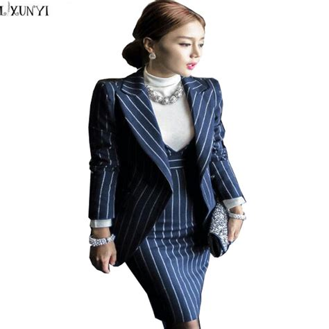 jacket design for ladies suit high quality designer elegant women suit set slim stripe