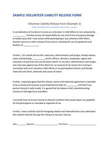 Volunteer Waiver Template by Volunteer Liability Release In Word And Pdf Formats