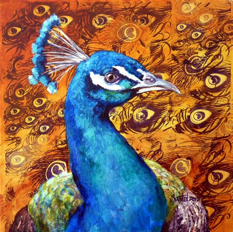 Painting 200x80cm 2 Peacock by saltiel a peacock called win