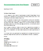 Reference Letter For Employee From Manager Letter Of Recommendation For Employment Letterformats Net