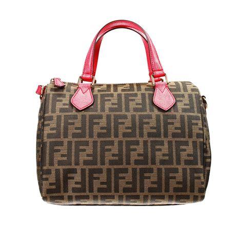 Fendi Coral Pink Embossed Satin Handbag by Fendi Handbag Bag Zucca Duffle Contrast In Pink Lyst