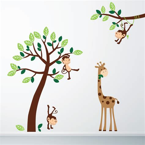 jungle tree wall stickers monkey and giraffe jungle wall sticker stickers wall