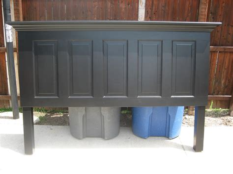 How To Make A Door A Headboard by 5 Panel Door Headboard Painted Satin Onyx Black By Vin