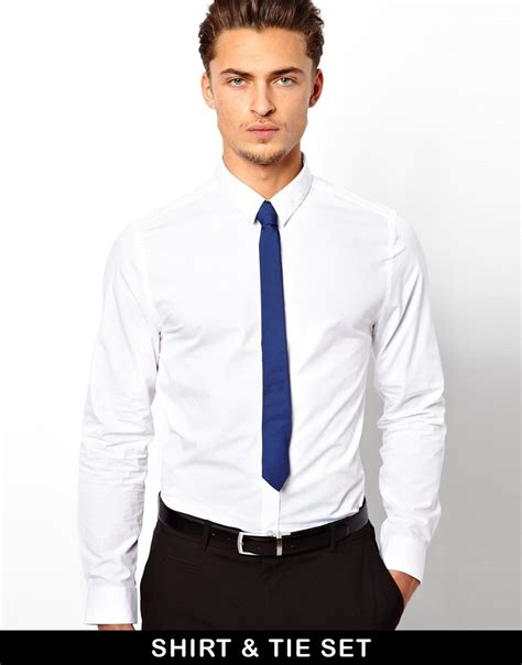 asos smart shirt and tie set in blue for white lyst