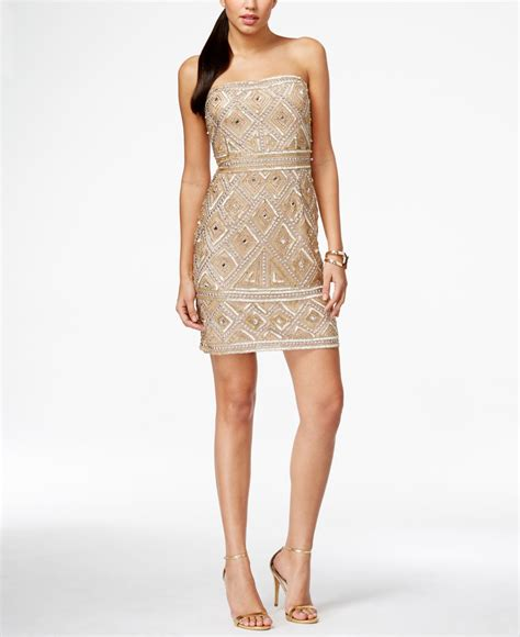 gold beaded dress papell strapless beaded sheath dress in gold