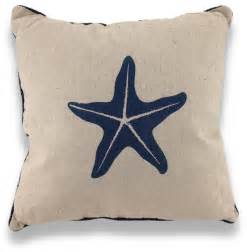 starfish nautical throw pillow blue rope trim