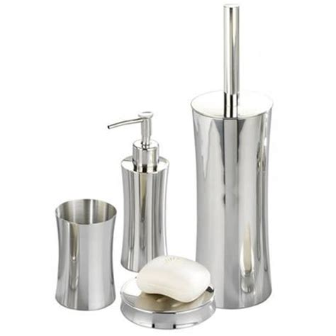 Bathroom Accessories Stainless Steel Wenko Pieno Shiny Bathroom Accessories Set Stainless Steel At Plumbing Uk