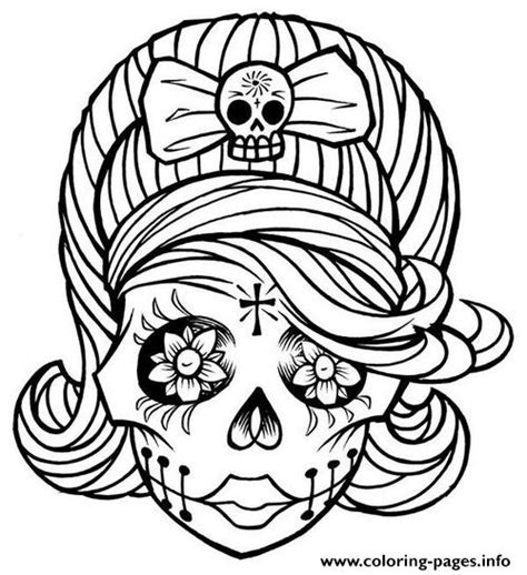 sugar skull girl coloring pages printable