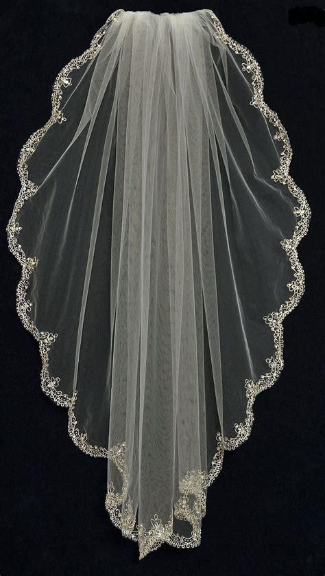 Wedding Veil by Fingertip Wedding Veil With Rhinestone Beaded Silver