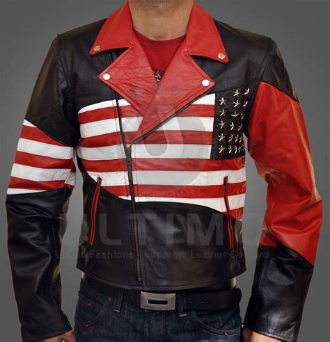 Jaket American Usa American Flag Leather Jacket
