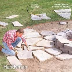 How To Lay A Brick Patio Yourself How To Build A Stone Fire Ring The Family Handyman