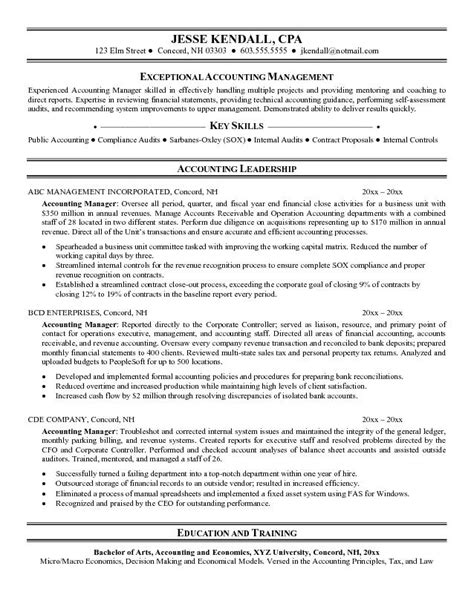 Resume Templates For Accounting Managers Exle Accounting Manager Resume Free Sle