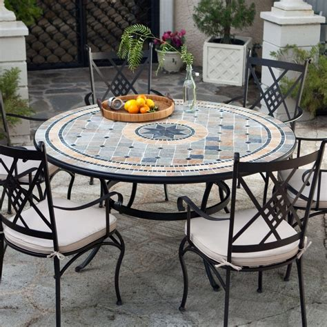 Round Patio Dining Set Seats 6 Outdoor Patio Table Set