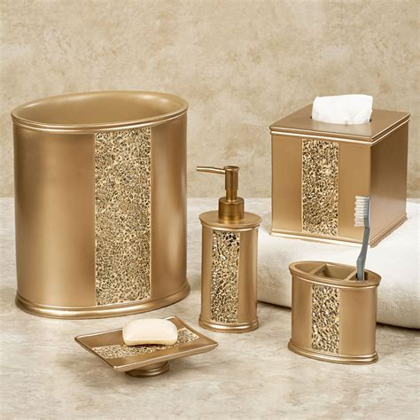 Decorative Bathroom Accessories Sets Prestigue Chagne Gold Mosaic Bath Accents