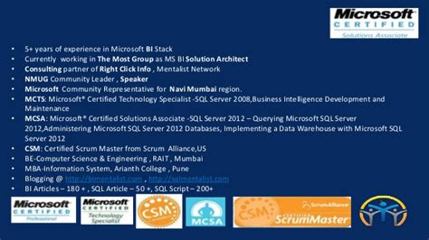 Snhu Mba Business Intelligence Sql by Microsoft Sql Server 2012 Certifications And