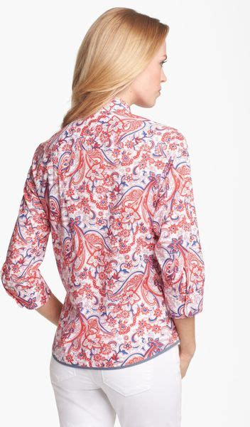Combination Blouse Whitered 5008 foxcroft paisley print shirt in white