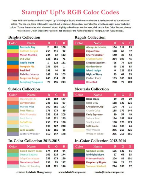 rgb color codes stin up 2013 14 pdf stin up craft ideas t