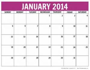 january 2014 calendar printable free