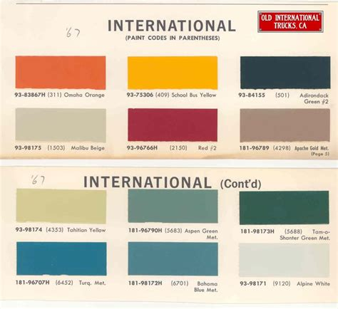 1967 international truck paint codes times trucks paint and truck paint