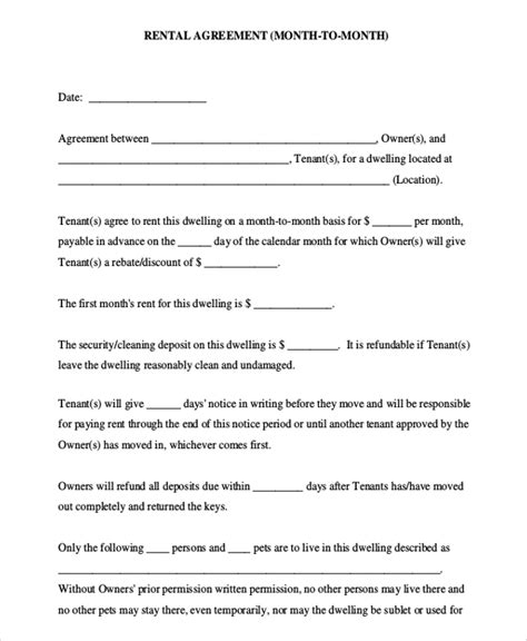 printable rental agreement month to month month to month rental agreement template 8 free word