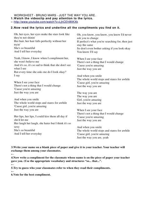 bruno mars biography worksheet bruno mars just the way you are