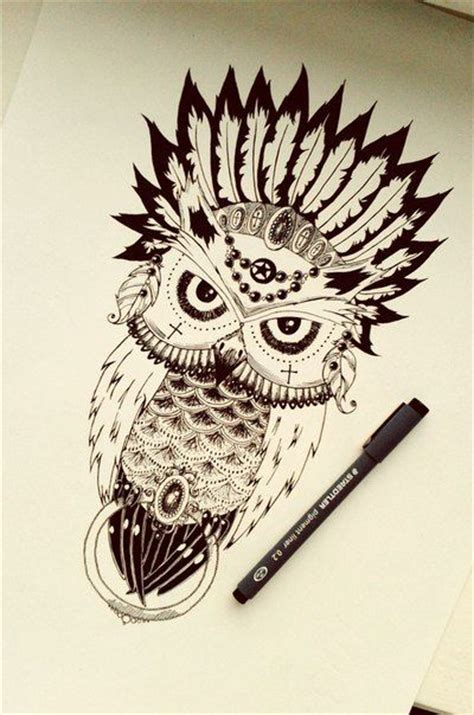 tattoo owl indian drawn owl indian pencil and in color drawn owl indian