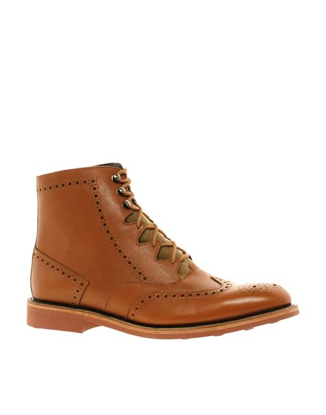 brogue boots for barbour cade brogue boots in brown for lyst