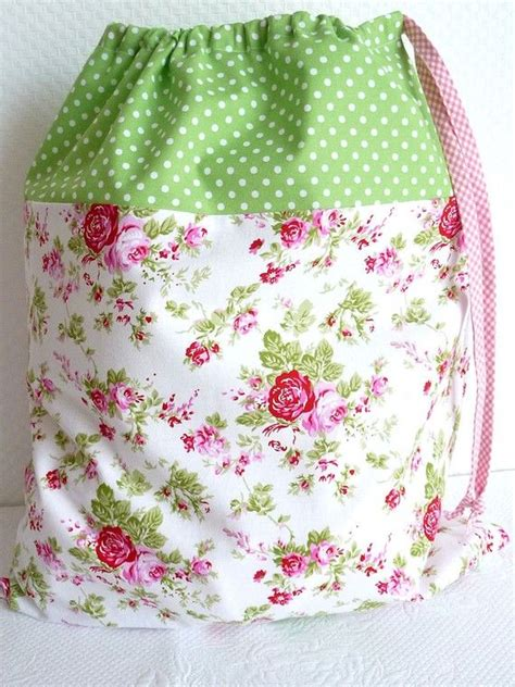 laundry bag lingerie bag large shabby chic drawstring bag floral green polkadots cath