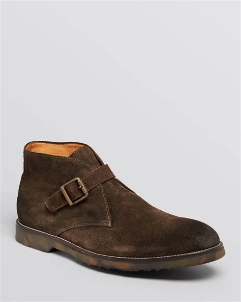 buckle boots to boot rafael buckle chukka boots in brown for lyst