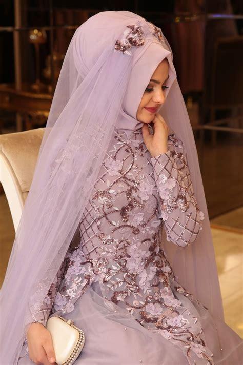 Abaya Wedding 02 p莖nar 蝙ems salk莖m abiye lila muslim bridal niqab bridesmaids