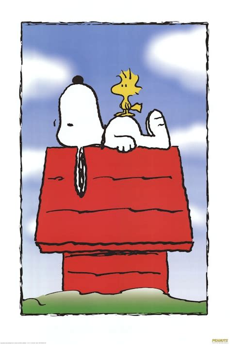 snoopy dog house picture peanuts snoopy dog house 27x40 cartoon poster woodstock charles schulz