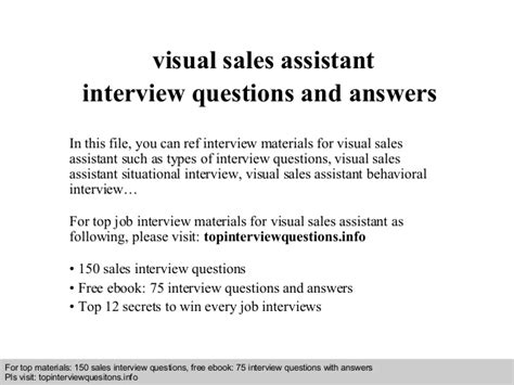 visual sales assistant questions and answers