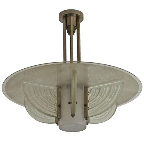 Fine French Art Deco Chandelier By Hettier Et Vincent For Deco Chandelier