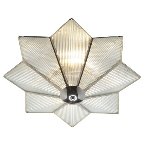 Deco Ceiling Light Flush Fitting Deco Glass Low Ceiling Light On