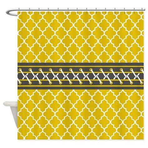 yellow moroccan pattern yellow moroccan quatrefoil pattern shower curtain by