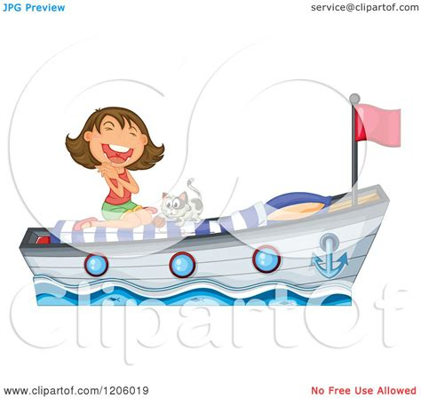 cartoon girl on boat cartoon of a brunette caucasian girl playing with a kitten