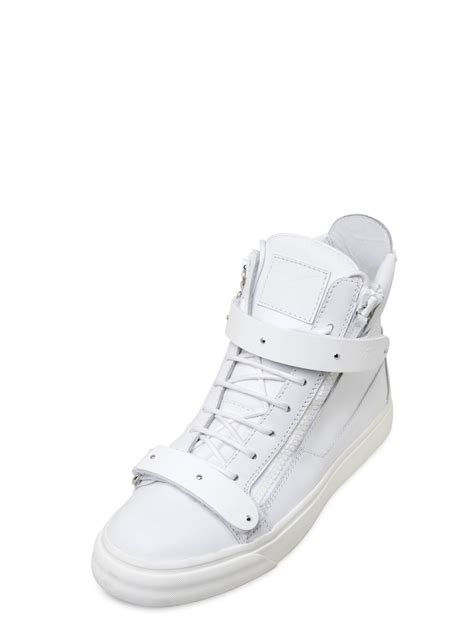 giuseppe zanotti sneakers white giuseppe zanotti metal leather high top sneakers in