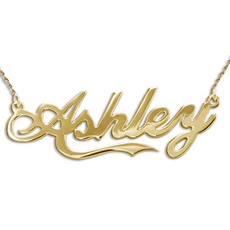 personalized 14k gold coca cola style name necklace