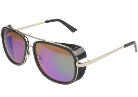 Mens Mirrored Square Aviator Sunglasses Side Shield