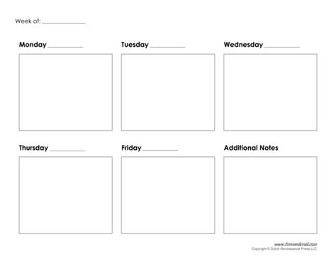 5 Day Work Week Calendar Template by Tim De Vall Comics Printables For