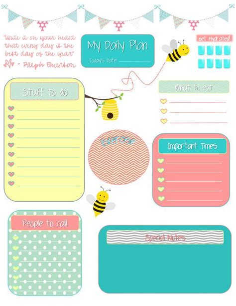 Printables For Erin Condren Life Planner | whimsical bees daily planning sheet for filofax or erin