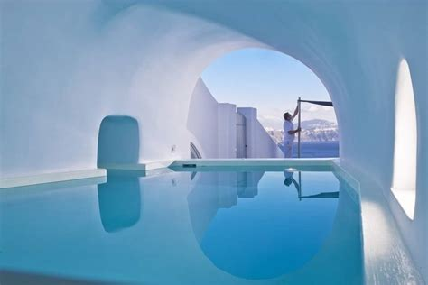 cave pool villa in santorini