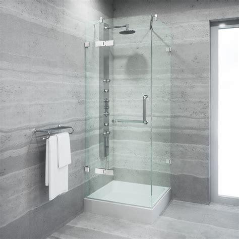 Vigo Glass Shower Door Vigo Monteray 32 375 In X 79 25 In Frameless Pivot Shower Door In Brushed Nickel With Clear
