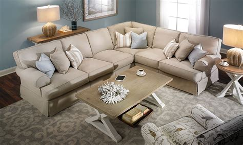 Furniture Stores Sectional Sofas Two Lanes Classic Slipcovered Sectional Sofa