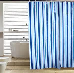 classic blue striped shower curtain waterproof shower