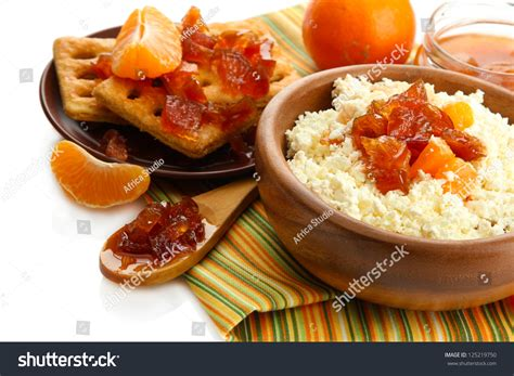 cottage cheese bowl tangerine jam stock photo