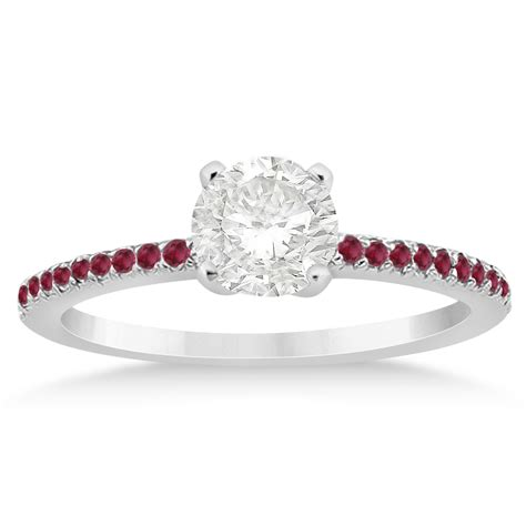 ruby accented engagement ring setting 18k white gold 0