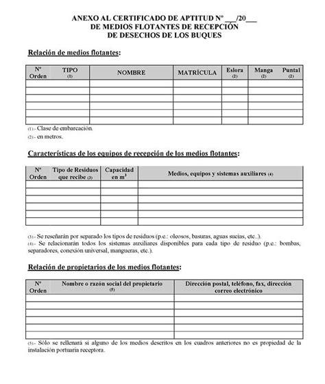 modelo de certificado de aptitud de medios flotantes de instalaciones real decreto 1084 2009 de 3 de julio por el que se