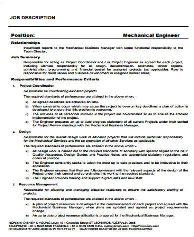 design engineer job description mechanical engineer job description sle 12 exles in word pdf